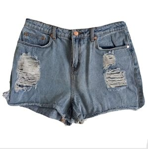 Miss Shop Size 12 Distressed Denim High Waist